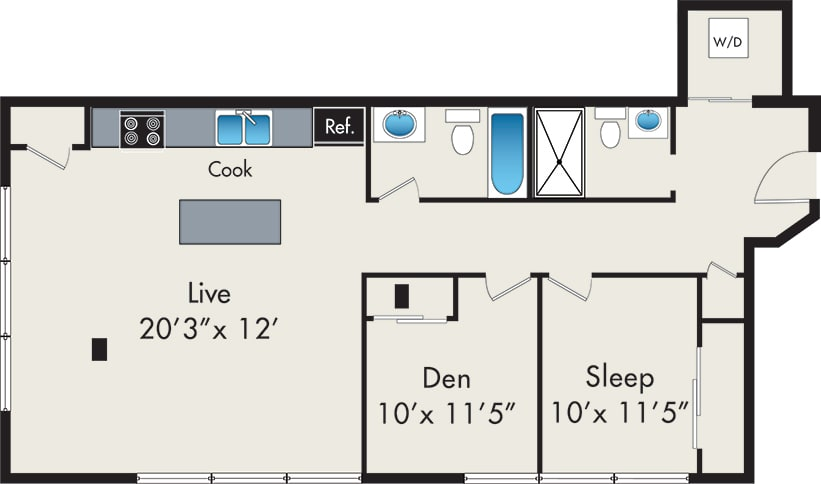 Floor Plan  One-Bedroom with Den Loft Floor Plan at 131 N Green St Chicago, IL 60607, opens a dialog.