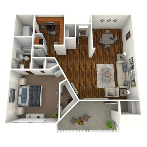 Floor Plan  The Altitude at Blue Ash Taragold One Bedroom Floor Plan, opens a dialog.