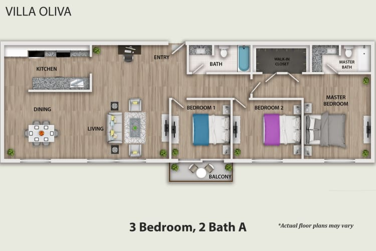 Floor Plan  3 Bedroom 2 Bathroom, opens a dialog.