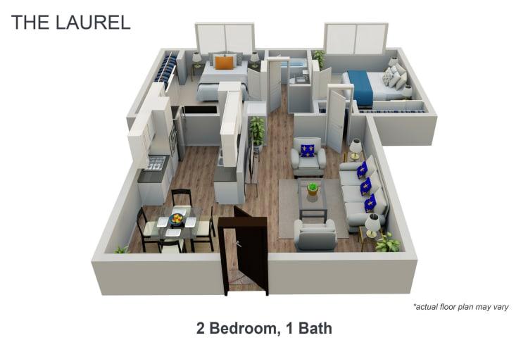 Floor Plan  2 Bed 1 Bath, opens a dialog.