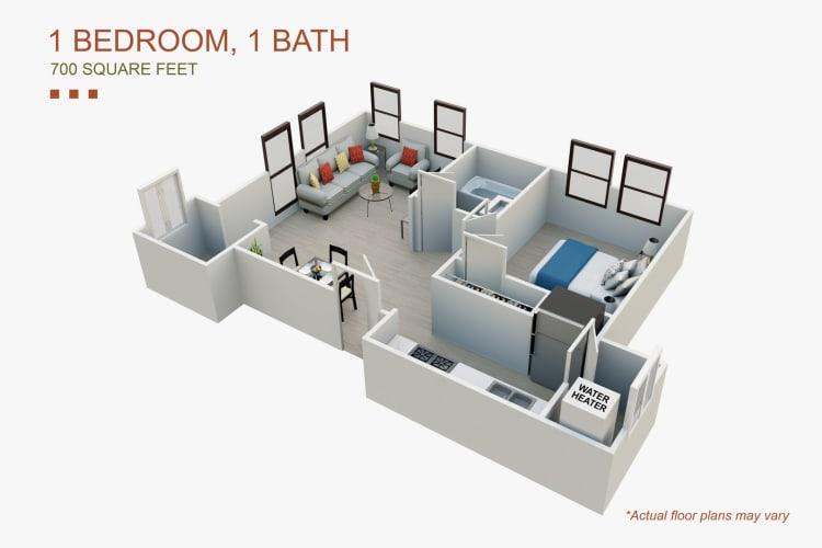 Floor Plan  One Bedroom, opens a dialog.