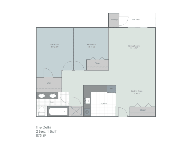 Floor Plan  Two bedroom floorplan layout, opens a dialog.