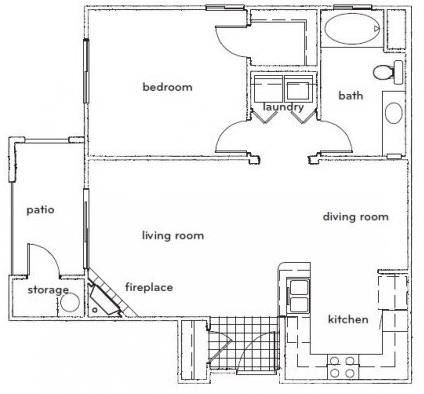 Floor Plan  The Altair 1 Bed 1 Bath Floorplan at Sterling Village Apartments, opens a dialog.