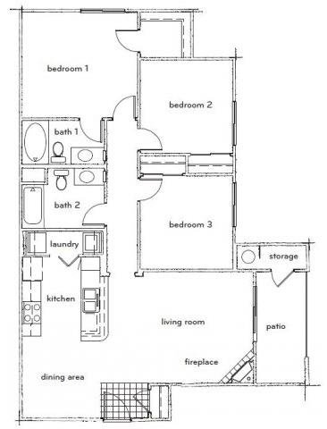 Floor Plan  The Durant 3 Bed 2 Bath Floorplan at Sterling Village Apartments, opens a dialog.