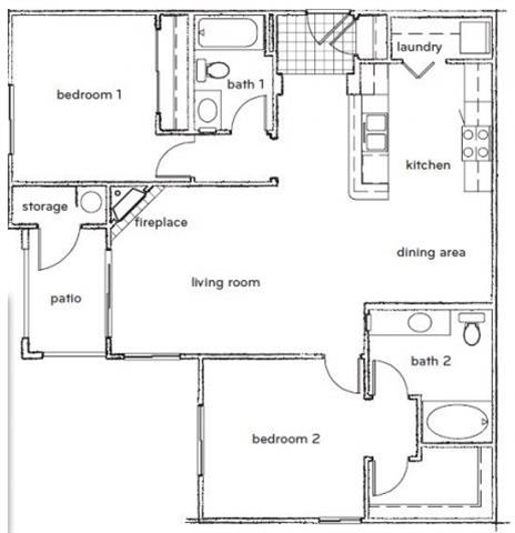 Floor Plan  The Halsey 2 Bed 2 Bath Floorplan at Sterling Village Apartments, opens a dialog.