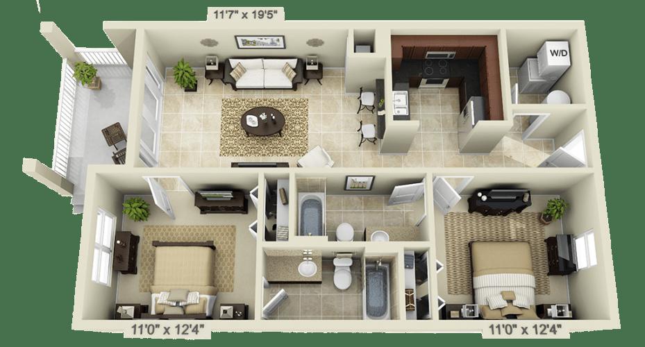 Floor Plan  2 Bedroom, opens a dialog.