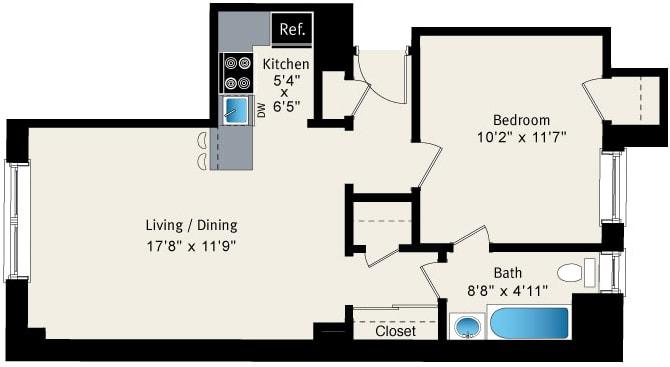 Floor Plan  1 bedroom floor plan at Reside at Belmont Harbor, opens a dialog.