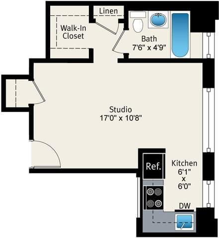Floor Plan  Studio floor plan at Reside at Belmont Harbor, opens a dialog.