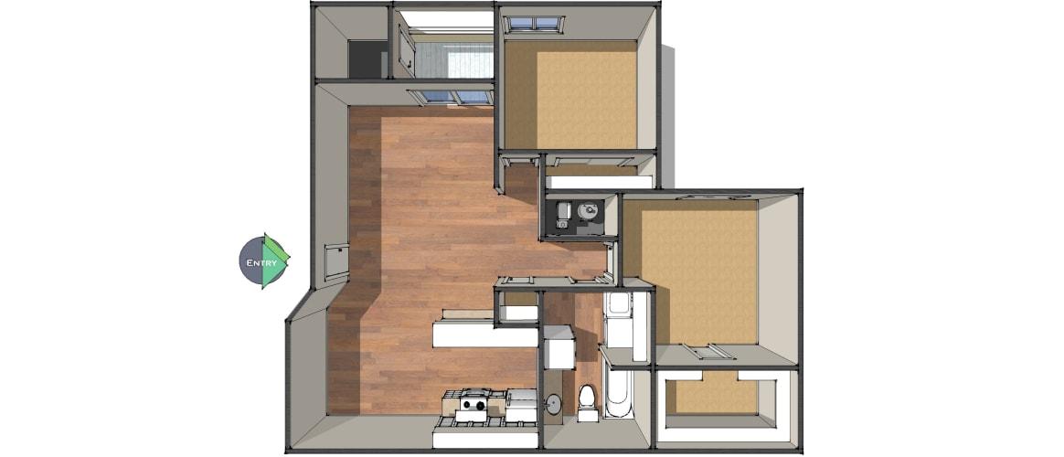 Floor Plan  Two Bedroom/One Bath