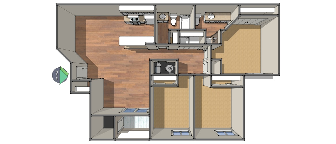 Floor Plan  Three Bedroom/Two Bath