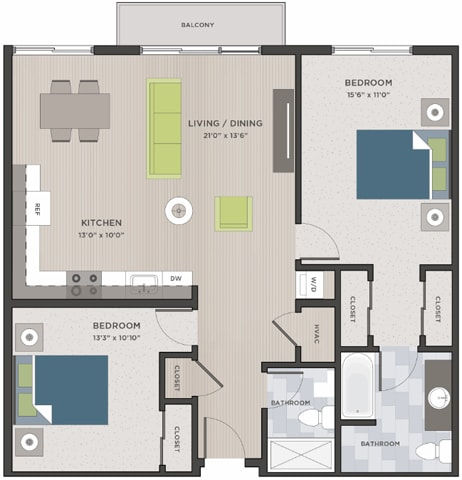 Floor Plan  Two bedroom, one and a half baths two-dimensional floor plan layout with a balcony., opens a dialog.