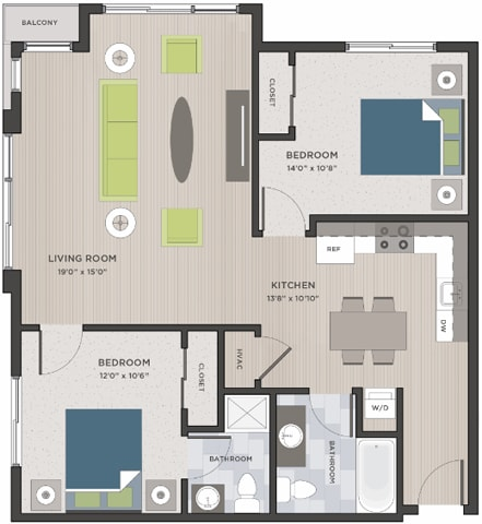 Floor Plan  Two bedroom, two bathroom two-dimensional floor plan layout with balcony. One bedroom has an on-suite., opens a dialog.