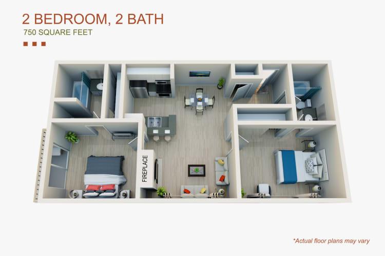 Floor Plan  2 Bed 2 Bath, opens a dialog.
