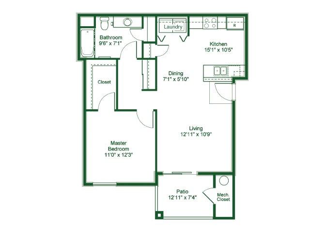Floor Plan  1 Bedroom 1 Bath floor plan, 841 square feet, opens a dialog.