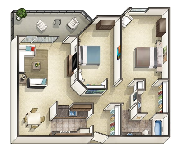 Floor Plan  Two Bedroom One and a Quarter Bathroom, opens a dialog.