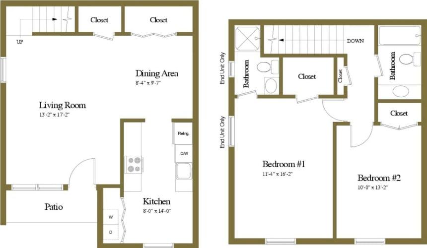 Floor Plan  2 Bedroom 2 Bathroom Chapel Valley Townhome Floorplan
