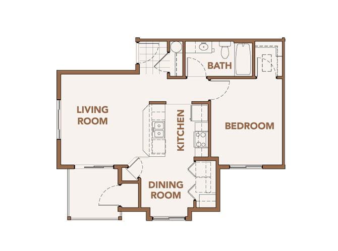 Floor Plan  One Bedrooms Apts Spokane WA 99224 l Copper River Apartments For Rent, opens a dialog.
