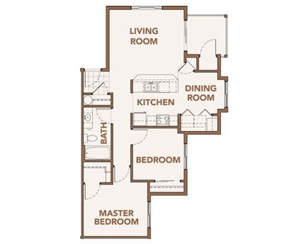 Floor Plan  Two Bedroom Apts Spokane WA 99224 l Copper River Apartments For Rent, opens a dialog.