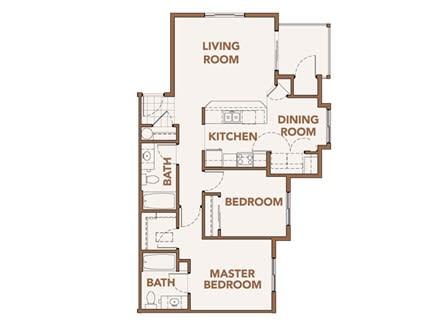 Floor Plan  2 Bedroom Floor Plans Spokane WA 99224 l Copper River Apartments For Rent, opens a dialog.