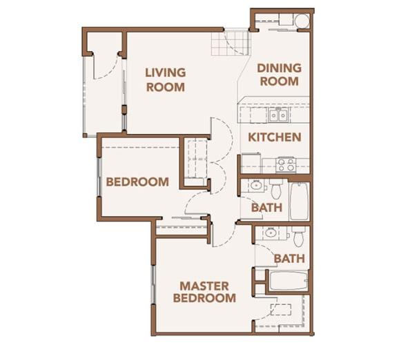 Floor Plan  2 Bedroom Apts Spokane WA 99224 l Copper River Apartments For Rent, opens a dialog.
