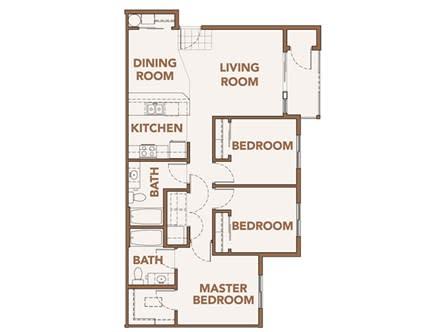 Floor Plan  Three Bedroom Floor Plans Spokane WA 99224 l Copper River Apartments For Rent, opens a dialog.
