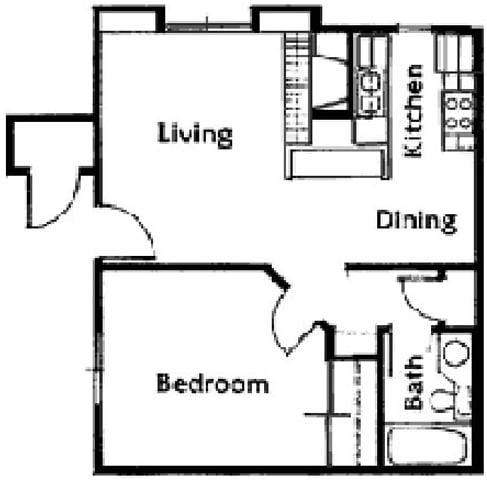 Floor Plan  Brittany Court one bedroom 2D floor plan, opens a dialog.