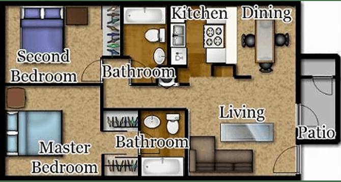 Floor Plan  El Encanto two bedroom floor plan., opens a dialog.