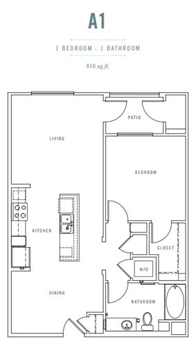 Floor Plan  1 Bed 1 Bath A1 Floor plan, at Preserve at Melrose, CA, 92083, opens a dialog.