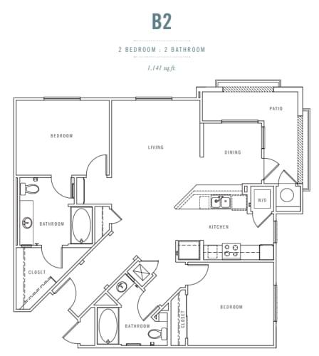 Floor Plan  2 Bed 2 Bath B2 Floor plan, at Preserve at Melrose, Vista, California, opens a dialog.