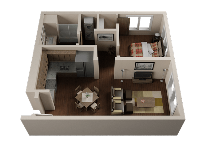 Floor Plan  One Bedroom, One Bath Apartments in Downtown Sacramento | Legado de Ravel