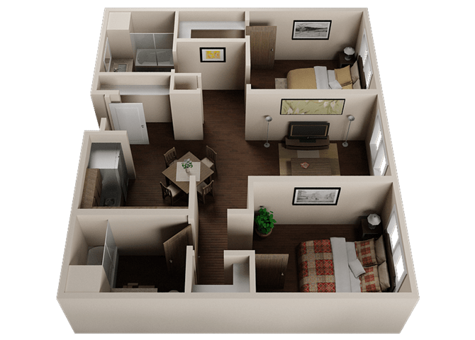 Floor Plan  Two Bedroom, Two Bath Apartments in Downtown Sacramento | Legado de Ravel