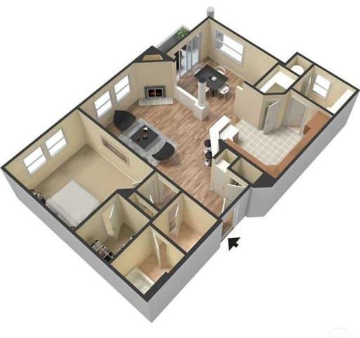 Floor Plan  One Bedroom Floor Plan l Lesarra Apartment in El Dorado Hills Ca, opens a dialog.