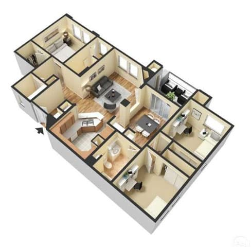 Floor Plan  Three Bedroom Floor Plan l Lesarra Apartment in El Dorado Hills Ca, opens a dialog.