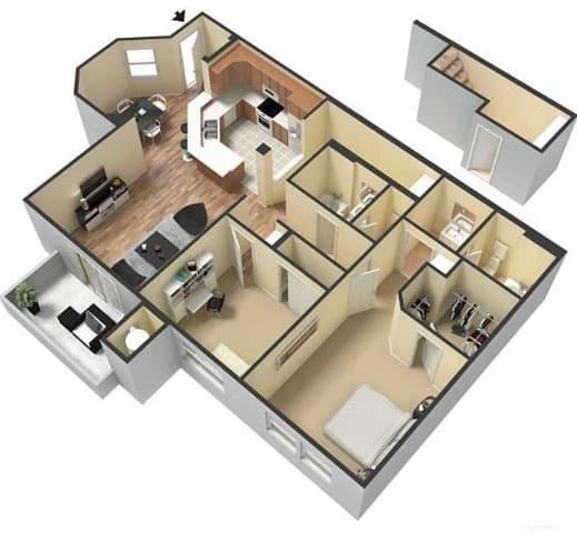 Floor Plan  Two Bedroom Floor Plan l Lesarra Apartment in El Dorado Hills Ca, opens a dialog.