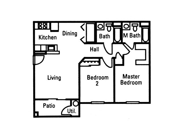 Floor Plan  2 Bedroom 2 Bath floor plan, 933 square feet with patio, opens a dialog.