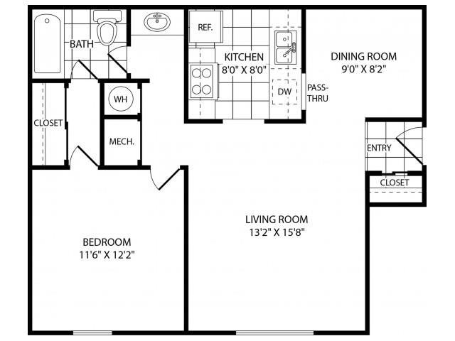Floor Plan  One Bedroom One Bathroom, opens a dialog.