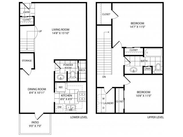 Floor Plan  Two Bedroom One and a Half Bathroom, opens a dialog.