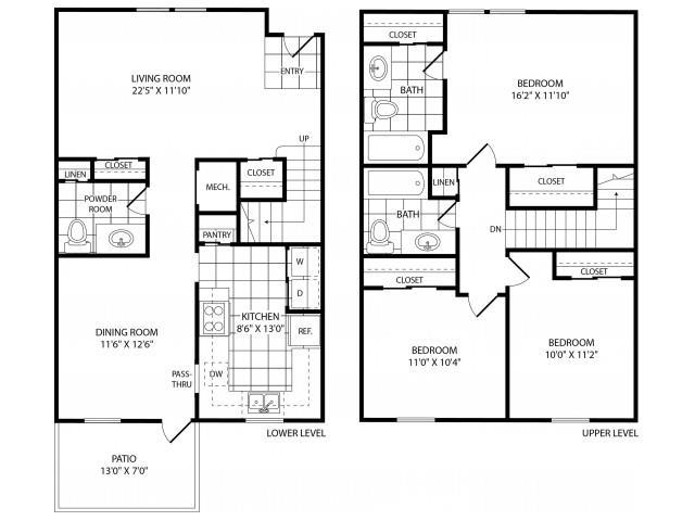 Floor Plan  Three Bedroom Two and a Half Bathroom, opens a dialog.