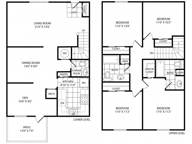 Floor Plan  Four Bedroom Two and a Half Bathroom, opens a dialog.