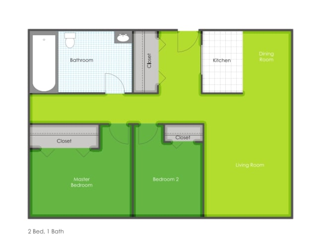 Floor Plan  2 bedroom floorplan layout, opens a dialog.