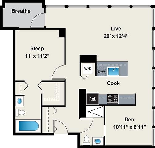 Floor Plan  1 Bedroom with den Floor plan at 24 S Morgan Apartments, Chicago, Illinois, opens a dialog.