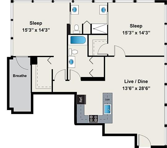 Floor Plan  2 Bed 2 Bath Floor plan at 24 S Morgan Apartments, Chicago, Illinois, opens a dialog.