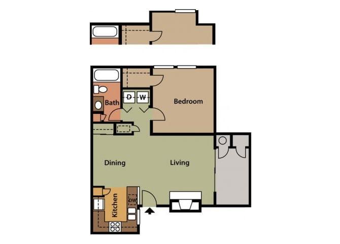 Floor Plan  One Bedroom Floor Plan at Twin Creek Apartments in Antioch CA