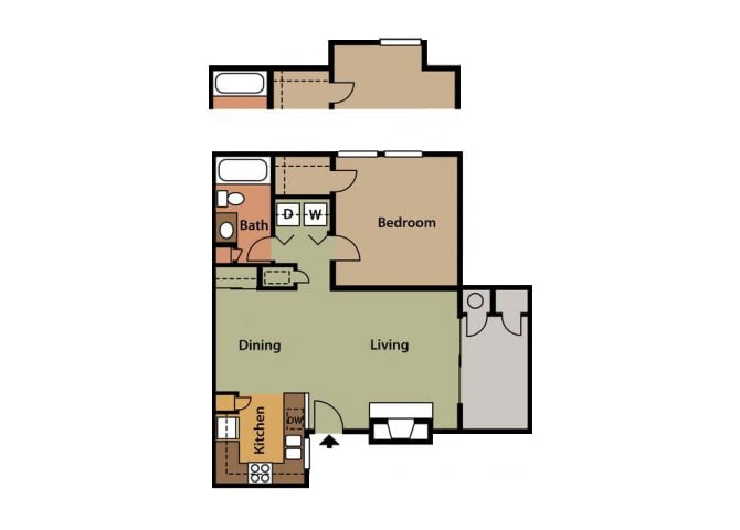 Floor Plan  1x1 Floor Plan at Twin Creek Apartments in Antioch CA