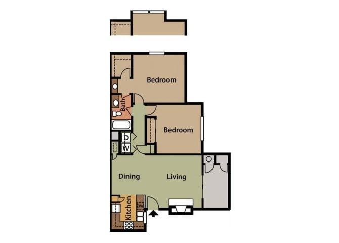 Floor Plan  Two Bedroom Floor Plan at Twin Creek Apartments in Antioch CA
