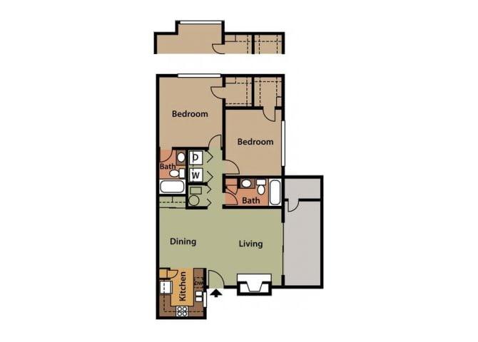 Floor Plan  2x2 Floor Plan at Twin Creek Apartments in Antioch CA