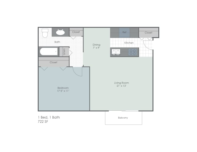 Floor Plan  One bed one bath 2D floor plan
