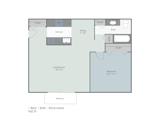 Floor Plan  One bedroom, one bathroom renovated floor plan