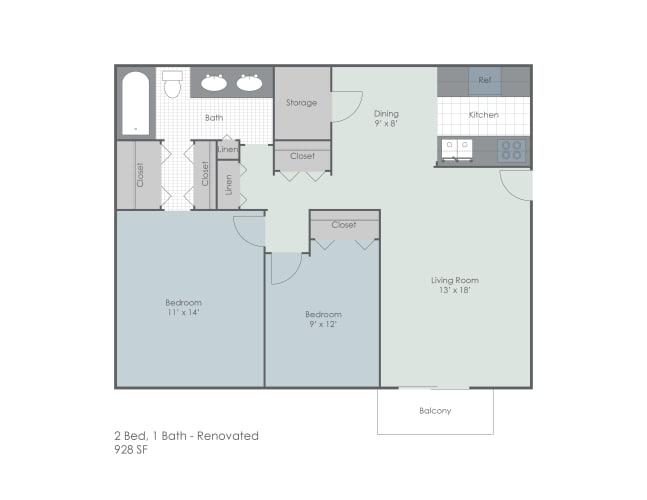 Floor Plan  Two bed one bath renovated 2D floor plan