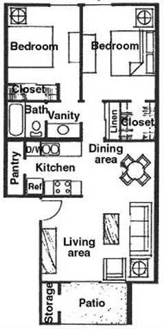 Floor Plan  2 bedroom 1 bathroom at River Oaks Apartments in Tucson, AZ, opens a dialog.